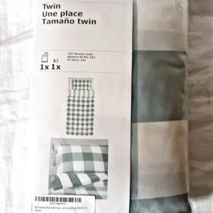 Ikea Emmie Ruta 2pc Twin Duvet Quilt Cover 100 Percent Cotton Gray White